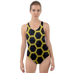 HEXAGON2 BLACK MARBLE & YELLOW LEATHER (R) Cut-Out Back One Piece Swimsuit