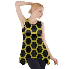 HEXAGON2 BLACK MARBLE & YELLOW LEATHER (R) Side Drop Tank Tunic