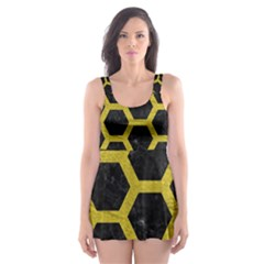 HEXAGON2 BLACK MARBLE & YELLOW LEATHER (R) Skater Dress Swimsuit