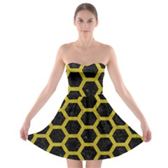 HEXAGON2 BLACK MARBLE & YELLOW LEATHER (R) Strapless Bra Top Dress