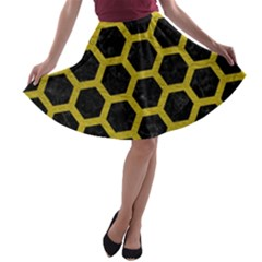 HEXAGON2 BLACK MARBLE & YELLOW LEATHER (R) A-line Skater Skirt