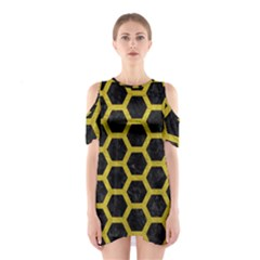HEXAGON2 BLACK MARBLE & YELLOW LEATHER (R) Shoulder Cutout One Piece