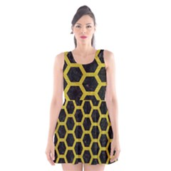 HEXAGON2 BLACK MARBLE & YELLOW LEATHER (R) Scoop Neck Skater Dress