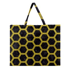 HEXAGON2 BLACK MARBLE & YELLOW LEATHER (R) Zipper Large Tote Bag