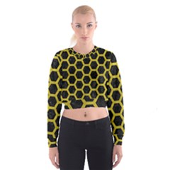 HEXAGON2 BLACK MARBLE & YELLOW LEATHER (R) Cropped Sweatshirt
