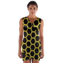 HEXAGON2 BLACK MARBLE & YELLOW LEATHER (R) Wrap Front Bodycon Dress