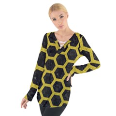 HEXAGON2 BLACK MARBLE & YELLOW LEATHER (R) Tie Up Tee