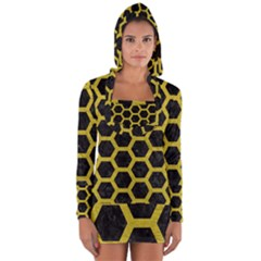 HEXAGON2 BLACK MARBLE & YELLOW LEATHER (R) Long Sleeve Hooded T-shirt