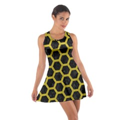 HEXAGON2 BLACK MARBLE & YELLOW LEATHER (R) Cotton Racerback Dress