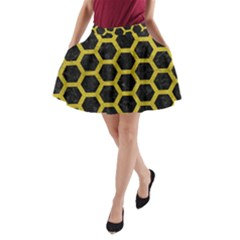 HEXAGON2 BLACK MARBLE & YELLOW LEATHER (R) A-Line Pocket Skirt