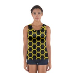 HEXAGON2 BLACK MARBLE & YELLOW LEATHER (R) Sport Tank Top
