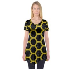 HEXAGON2 BLACK MARBLE & YELLOW LEATHER (R) Short Sleeve Tunic
