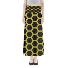 HEXAGON2 BLACK MARBLE & YELLOW LEATHER (R) Full Length Maxi Skirt