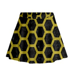 HEXAGON2 BLACK MARBLE & YELLOW LEATHER (R) Mini Flare Skirt