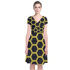 HEXAGON2 BLACK MARBLE & YELLOW LEATHER (R) Short Sleeve Front Wrap Dress
