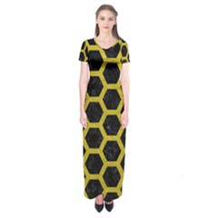 HEXAGON2 BLACK MARBLE & YELLOW LEATHER (R) Short Sleeve Maxi Dress