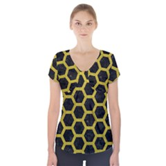 HEXAGON2 BLACK MARBLE & YELLOW LEATHER (R) Short Sleeve Front Detail Top