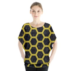 HEXAGON2 BLACK MARBLE & YELLOW LEATHER (R) Blouse