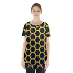 HEXAGON2 BLACK MARBLE & YELLOW LEATHER (R) Skirt Hem Sports Top