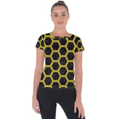 HEXAGON2 BLACK MARBLE & YELLOW LEATHER (R) Short Sleeve Sports Top
