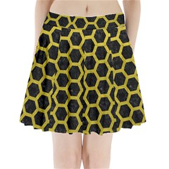 HEXAGON2 BLACK MARBLE & YELLOW LEATHER (R) Pleated Mini Skirt