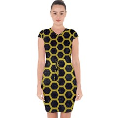 HEXAGON2 BLACK MARBLE & YELLOW LEATHER (R) Capsleeve Drawstring Dress