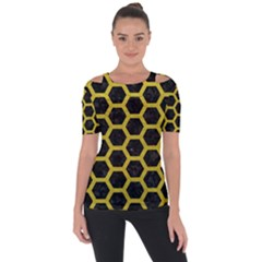 HEXAGON2 BLACK MARBLE & YELLOW LEATHER (R) Short Sleeve Top