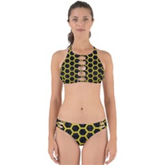 HEXAGON2 BLACK MARBLE & YELLOW LEATHER (R) Perfectly Cut Out Bikini Set