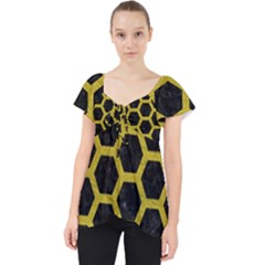 HEXAGON2 BLACK MARBLE & YELLOW LEATHER (R) Lace Front Dolly Top
