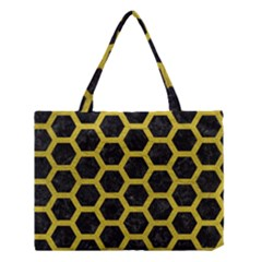 HEXAGON2 BLACK MARBLE & YELLOW LEATHER (R) Medium Tote Bag