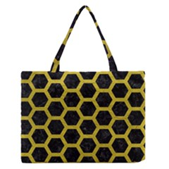 HEXAGON2 BLACK MARBLE & YELLOW LEATHER (R) Zipper Medium Tote Bag