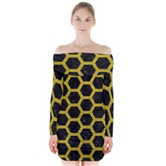 HEXAGON2 BLACK MARBLE & YELLOW LEATHER (R) Long Sleeve Off Shoulder Dress