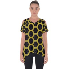 HEXAGON2 BLACK MARBLE & YELLOW LEATHER (R) Cut Out Side Drop Tee