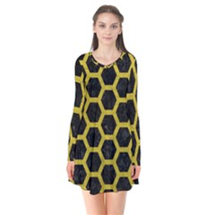 HEXAGON2 BLACK MARBLE & YELLOW LEATHER (R) Flare Dress