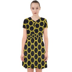 HEXAGON2 BLACK MARBLE & YELLOW LEATHER (R) Adorable in Chiffon Dress