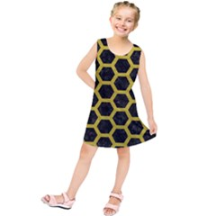 HEXAGON2 BLACK MARBLE & YELLOW LEATHER (R) Kids  Tunic Dress