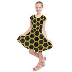 HEXAGON2 BLACK MARBLE & YELLOW LEATHER (R) Kids  Short Sleeve Dress