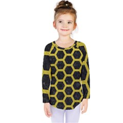 HEXAGON2 BLACK MARBLE & YELLOW LEATHER (R) Kids  Long Sleeve Tee