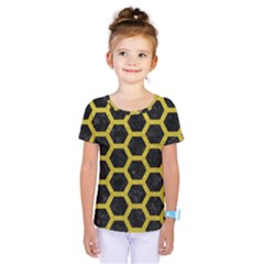 HEXAGON2 BLACK MARBLE & YELLOW LEATHER (R) Kids  One Piece Tee