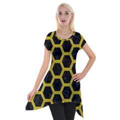 HEXAGON2 BLACK MARBLE & YELLOW LEATHER (R) Short Sleeve Side Drop Tunic