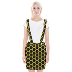 HEXAGON2 BLACK MARBLE & YELLOW LEATHER (R) Braces Suspender Skirt