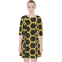 HEXAGON2 BLACK MARBLE & YELLOW LEATHER (R) Pocket Dress