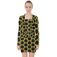 HEXAGON2 BLACK MARBLE & YELLOW LEATHER (R) V-neck Bodycon Long Sleeve Dress