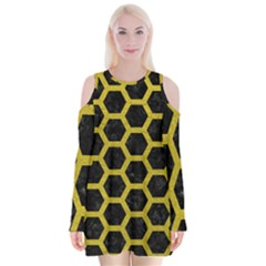 HEXAGON2 BLACK MARBLE & YELLOW LEATHER (R) Velvet Long Sleeve Shoulder Cutout Dress