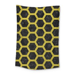 HEXAGON2 BLACK MARBLE & YELLOW LEATHER (R) Small Tapestry