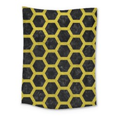 HEXAGON2 BLACK MARBLE & YELLOW LEATHER (R) Medium Tapestry
