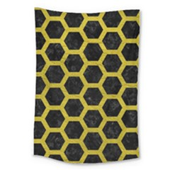 HEXAGON2 BLACK MARBLE & YELLOW LEATHER (R) Large Tapestry