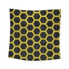 HEXAGON2 BLACK MARBLE & YELLOW LEATHER (R) Square Tapestry (Small)