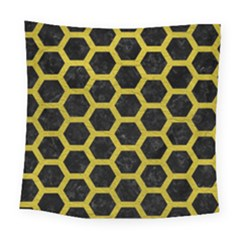 HEXAGON2 BLACK MARBLE & YELLOW LEATHER (R) Square Tapestry (Large)
