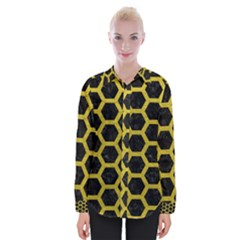 HEXAGON2 BLACK MARBLE & YELLOW LEATHER (R) Womens Long Sleeve Shirt
